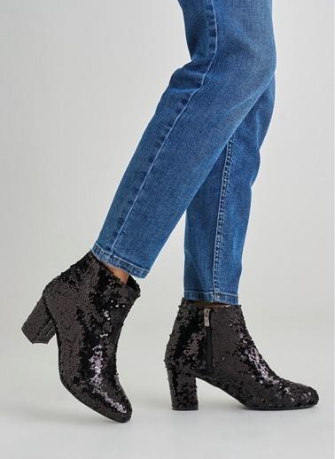 Monamoda Payetli Kalın Topuklu Bot Siyah